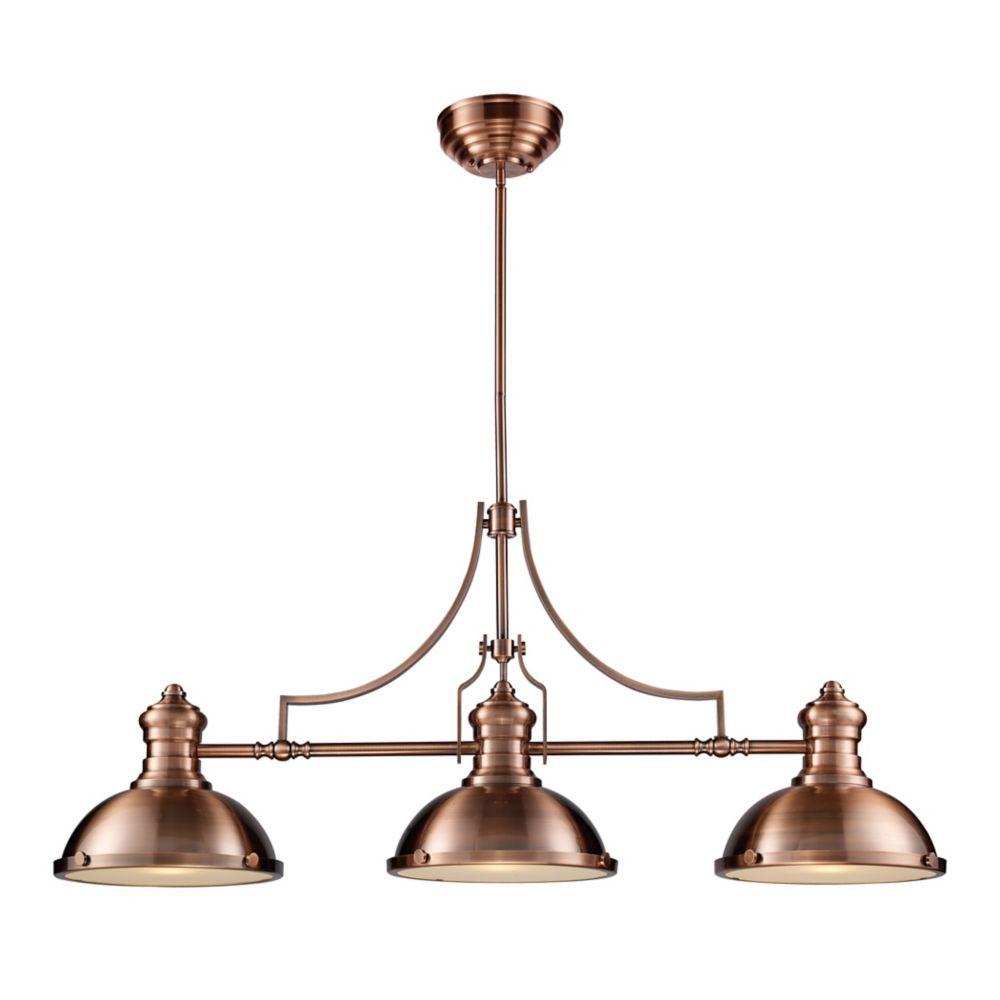 Chadwick 3-Light Billiard/Island Light In Antique Copper