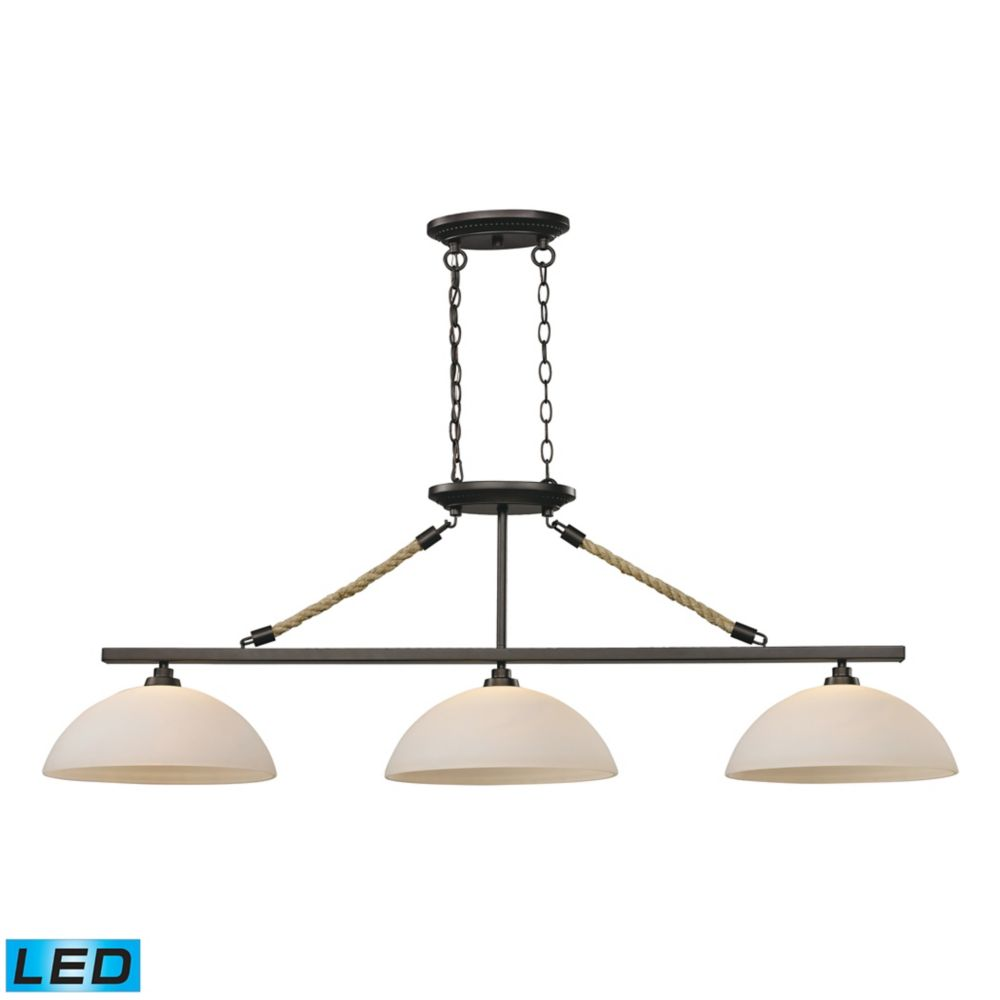 Natural Rope 3 Light Billiard In Aged Bronze - LED