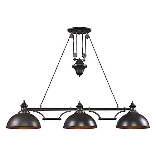 Luminaire de salle de billard à 3ampoules Farmhouse au fini bronze huilé