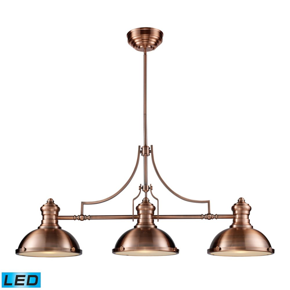 Chadwick 3-Light Billiard/Island Light In Antique Copper  - LED