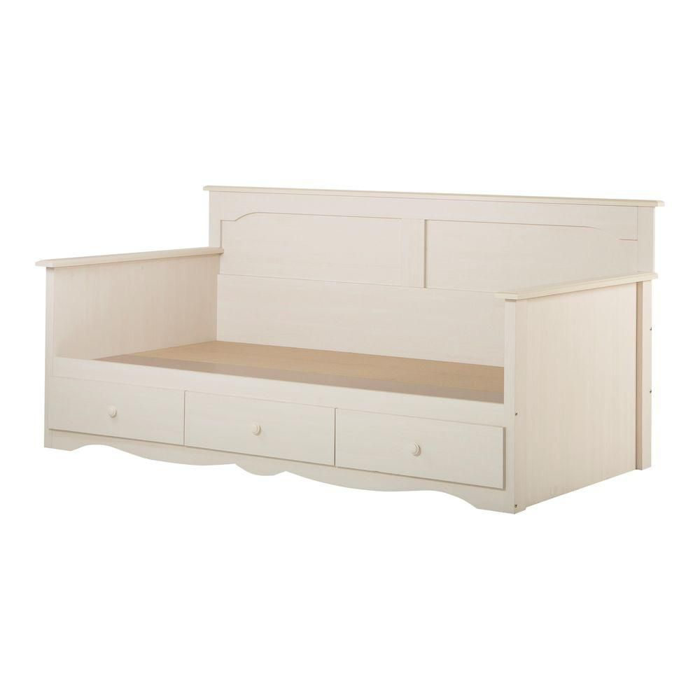 South shore lit divan simple avec rangement 39 blanc antique collec - Lit simple avec rangement ...