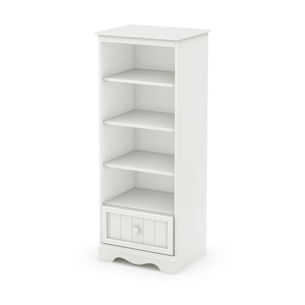 Savannah Shelving Unit with Drawer, Pure White