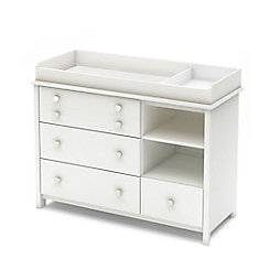 Little Smileys Changing Table with Removable Changing Station and Shelving Unit with Drawers, Pure White