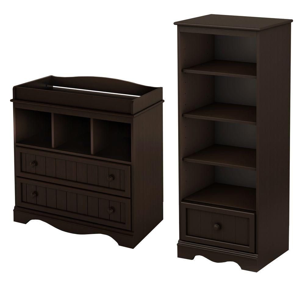 Savannah Changing Table and Shelving Unit with Drawer, Espresso