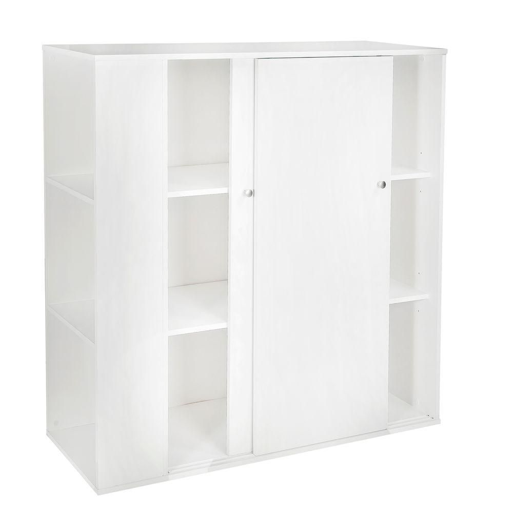 Storit Kids Storage Cabinet With Sliding Doors, Pure White