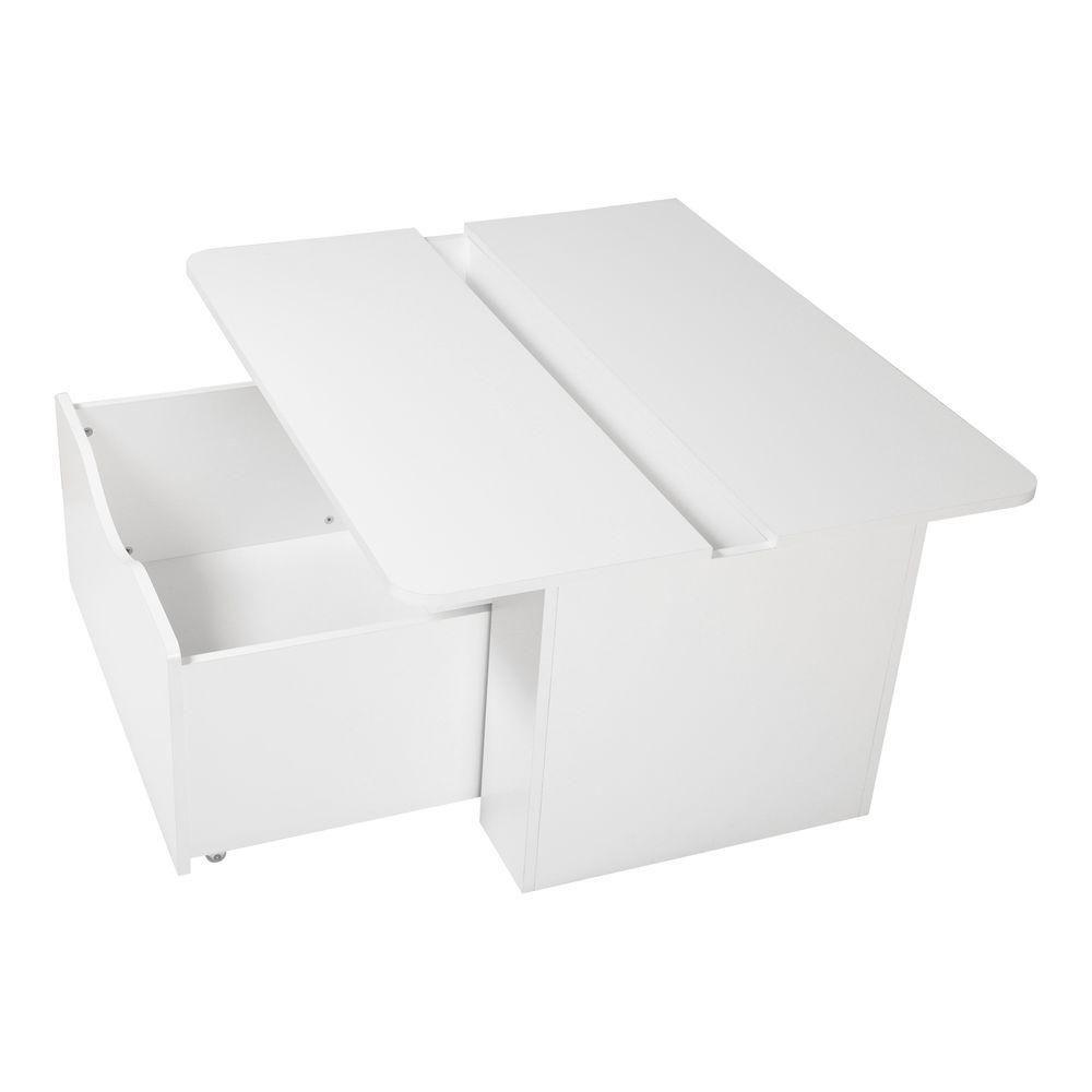 Table pour enfant avec coffre à jouets sur roulettes, Blanc solide, collection Storit