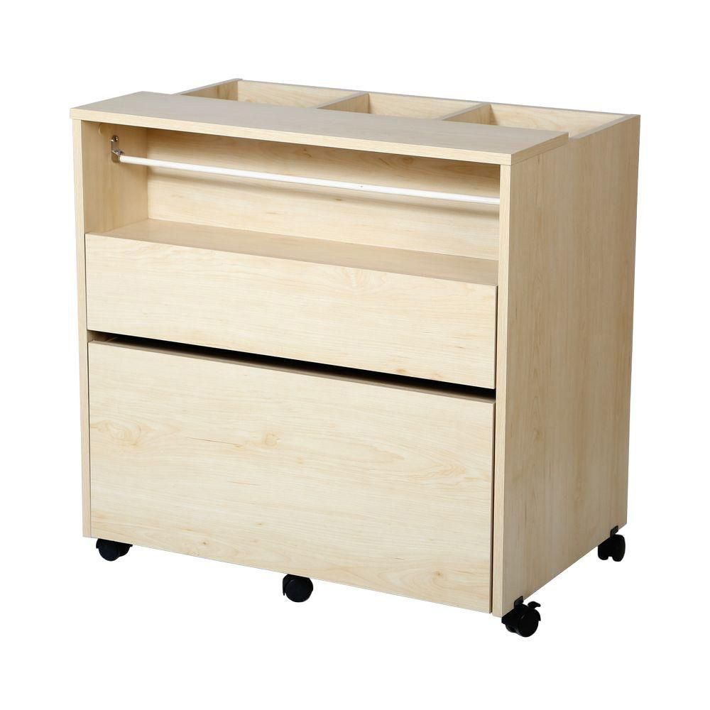 South shore crea craft storage cabinet on wheels natural for Kitchen craft cabinets home depot