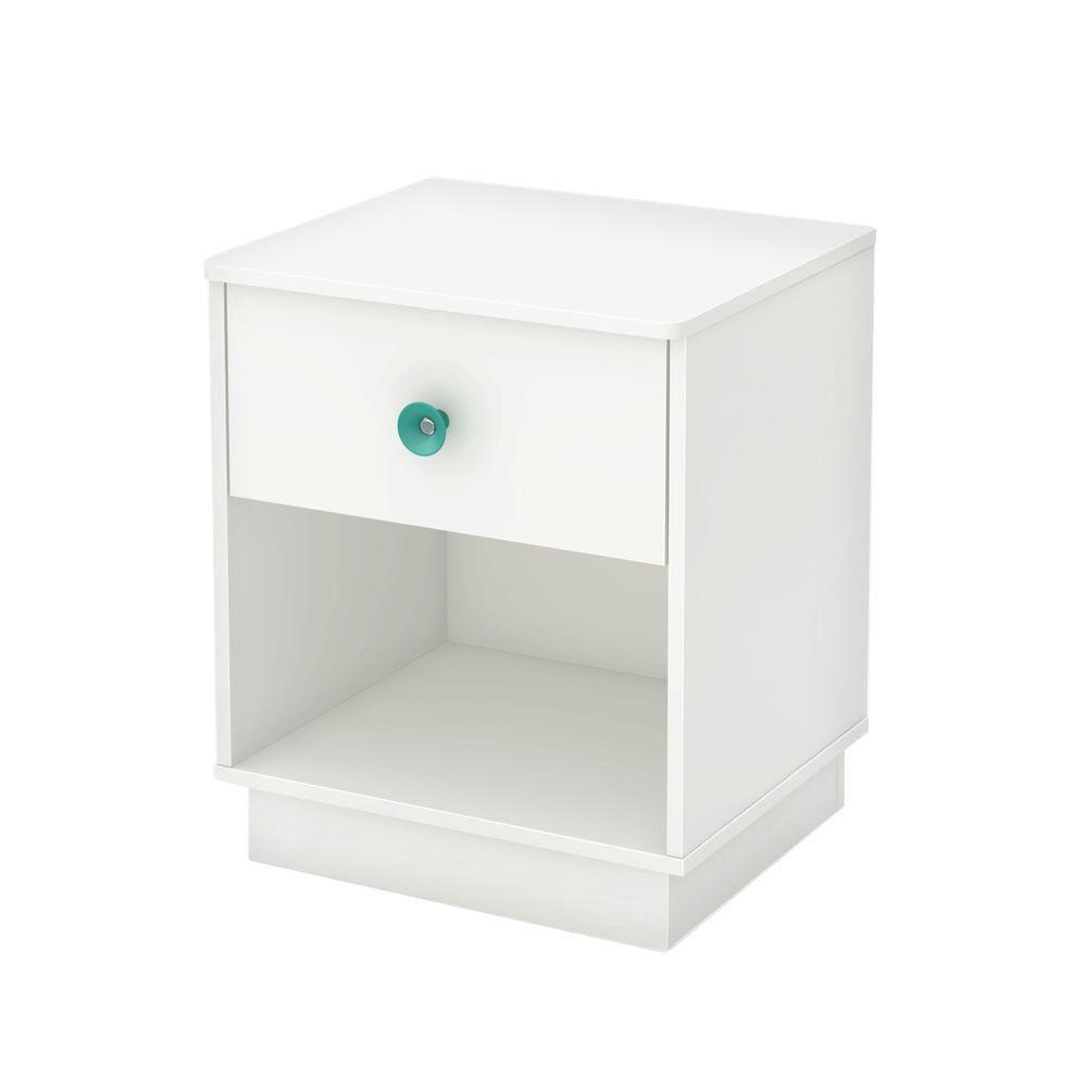 Table de chevet 1 tiroir, Blanc solide, collection Little Monsters