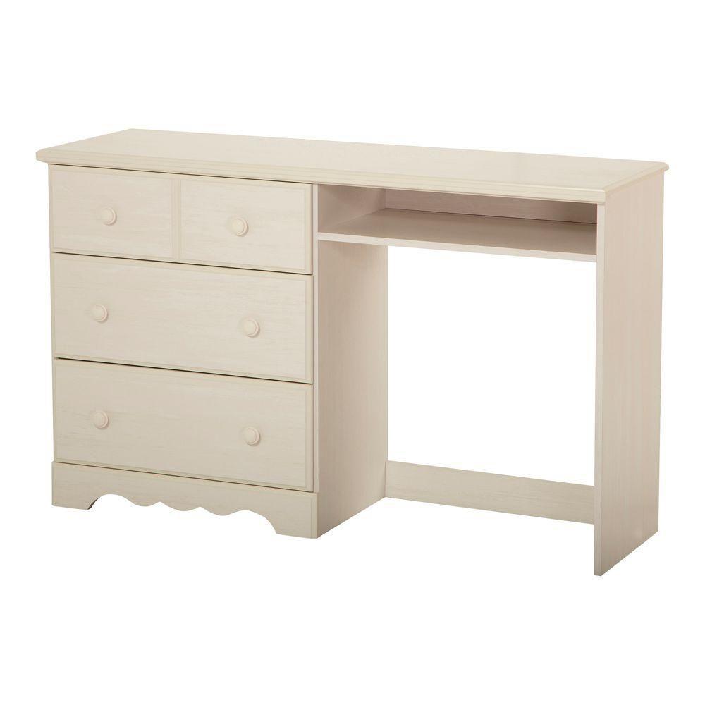 Bureau de travail 3 tiroirs, Blanc antique, collection Summer Breeze