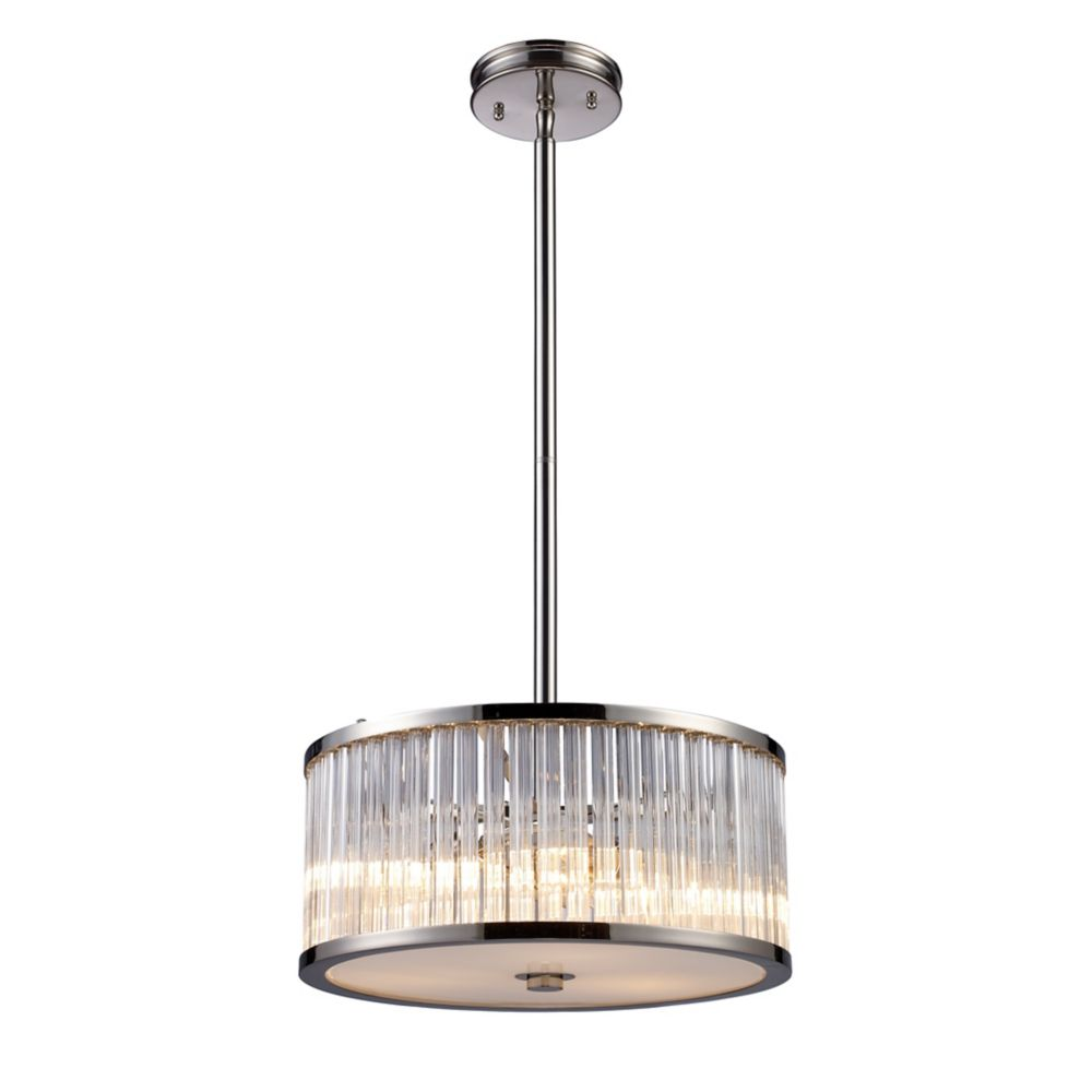 Titan Lighting Braxton 3-Light Pendant In Polished Nickel
