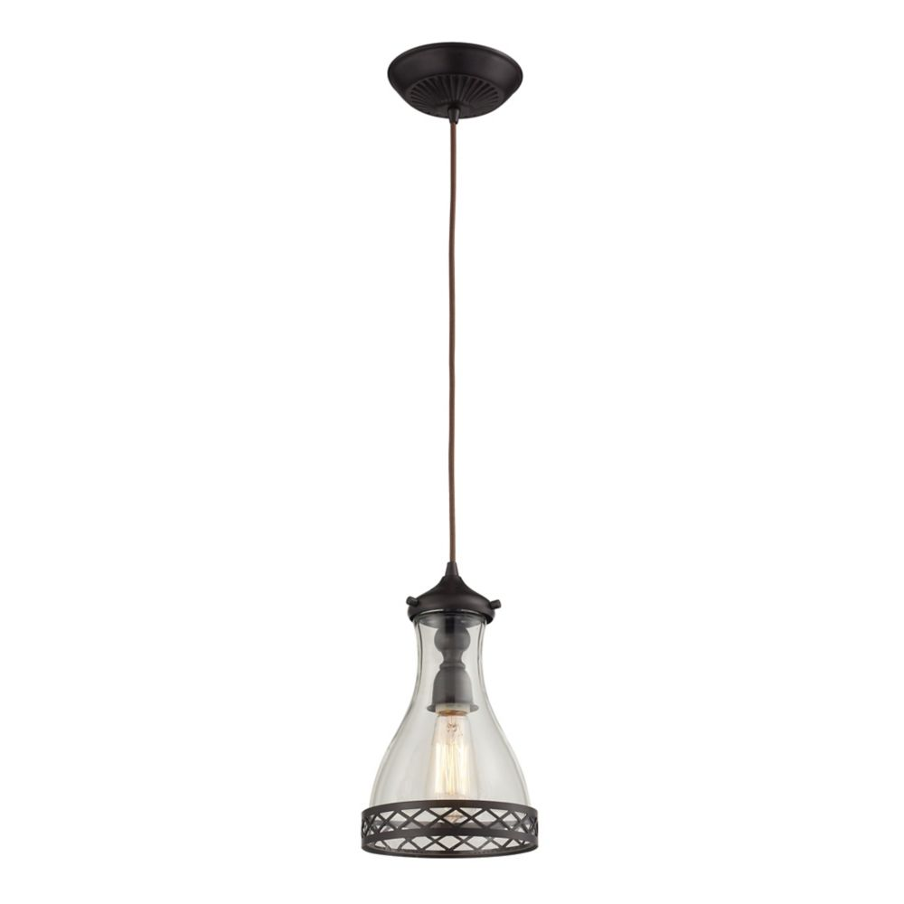 Brookline 1 Light Pendant In Oiled Bronze