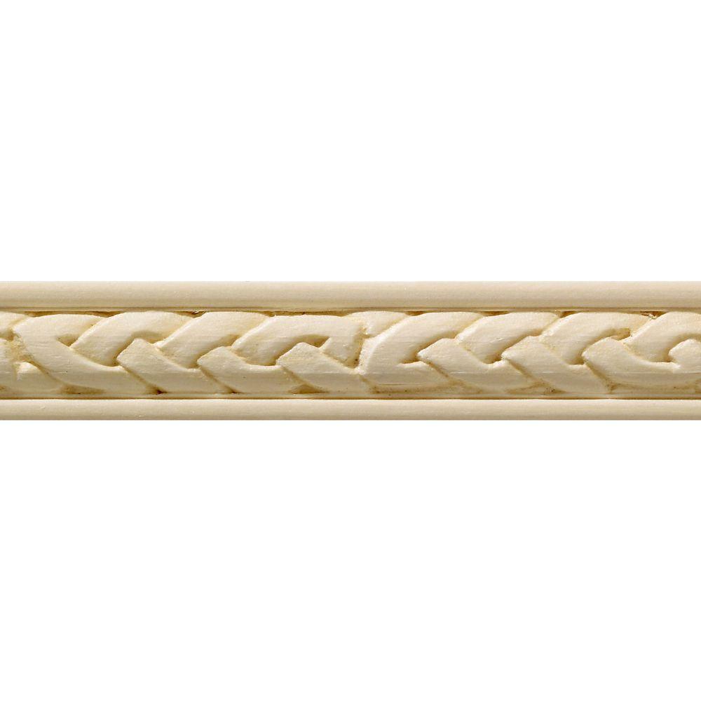 Blanche en bois dur, Celtique moulure de panneau - 7/16 X 3/4 po - vendu par pièce de 1,22 m