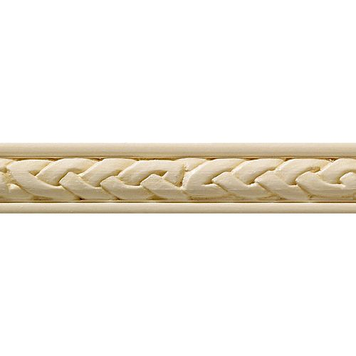 Ornamental Mouldings White Hardwood Celtic Trim Hobby Moulding 7/16  Inch x 3/4  Inch x 4  Feet