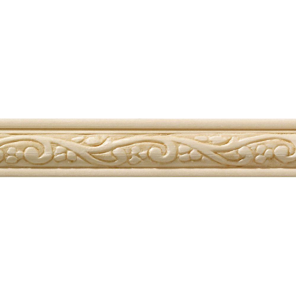 Blanche en bois dur, Fantaisie moulure de panneau - 7/16 X 3/4 po - vendu par pièce de 1,22 m