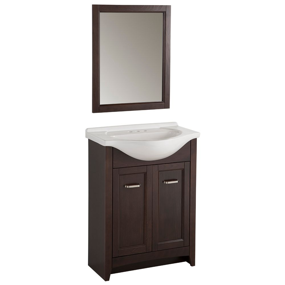 glacier bay 25 inch w vanity in chocolate finish with