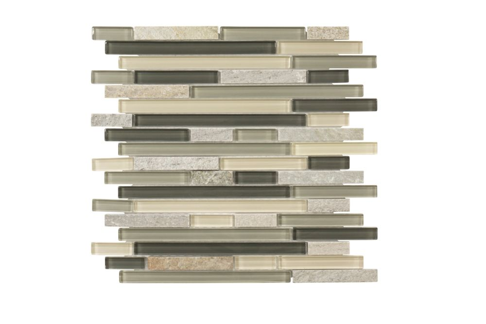 Jeffrey Court 13-inch x 11.625-inch x 6mm Stone/Glass Mosaic Tile in Terrarium
