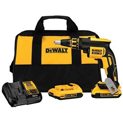 DEWALT 20V MAX XR Li-Ion Cordless Brushless Drywall Screw Gun Kit w/ (2) Batteries 2Ah, Charger and Contractor Bag