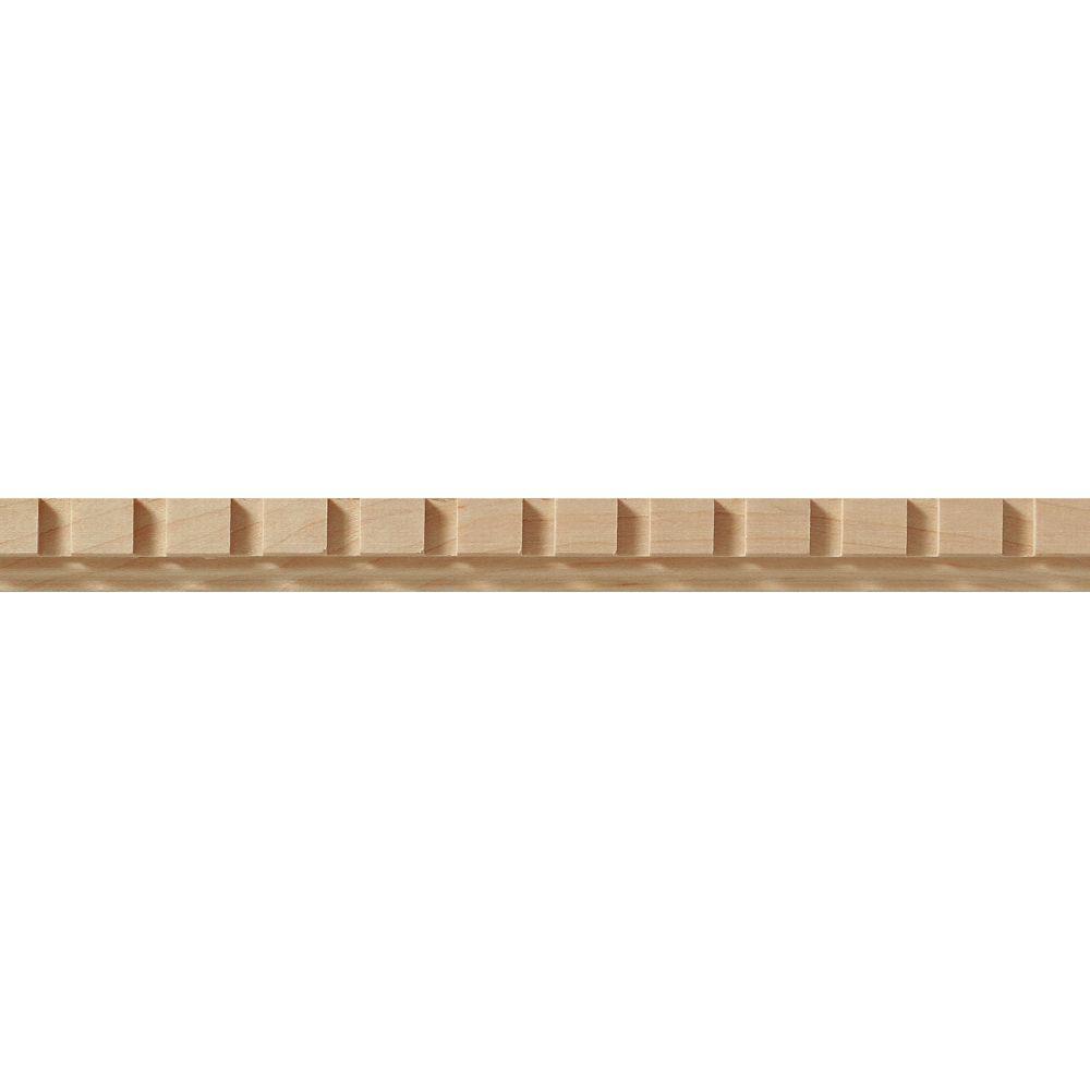 Bois d'érable panneau moulage denticules - 3/8 X 3/4 po - vendu par pièce de 1,22 m