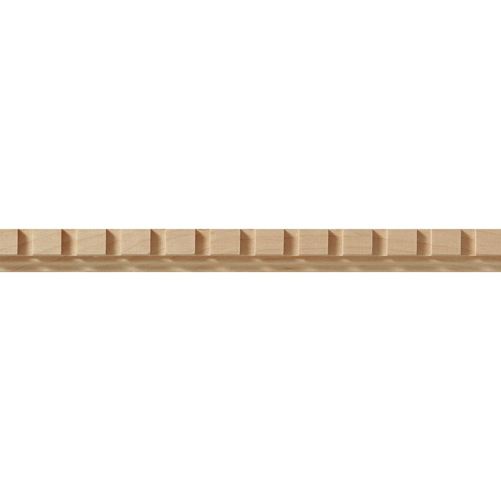 Maple Dentil Trim Hobby Moulding 3/8  Inch x  3/4  Inch x 4  Feet