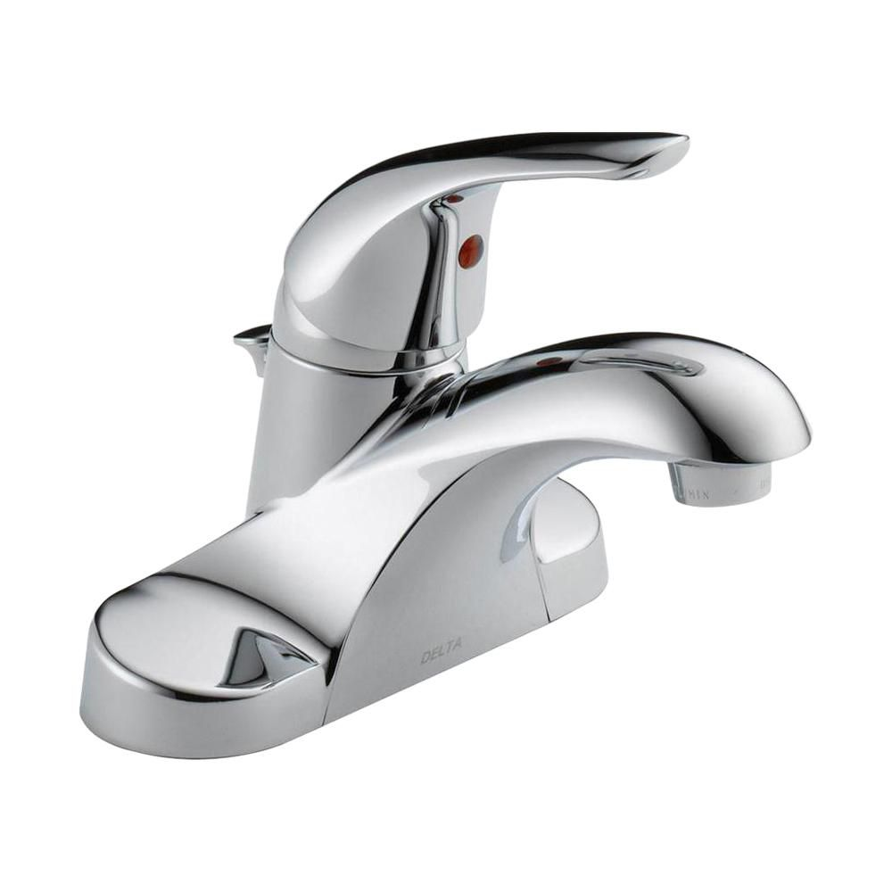 Delta Centerset (4-inch) 1-Handle Low Arc Bathroom Faucet in Chrome with Lever Handle