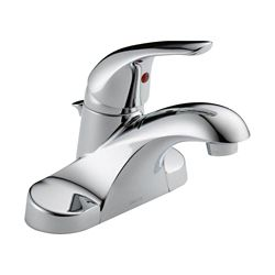 Delta Foundations Centerset (4-inch) 1-Handle Low Arc Bathroom Faucet in Chrome with Lever Handle