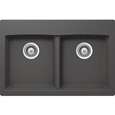 Évier de cuisine à deux cuves et à deux modes d'installation, en basalte