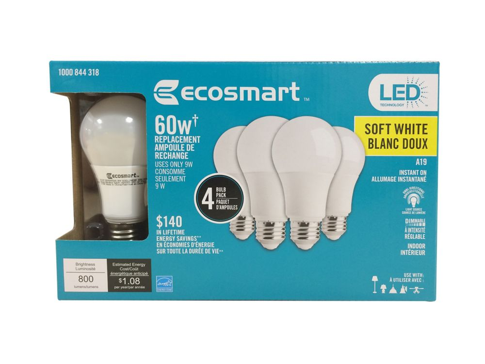 60W Equivalent Soft White (2700K) A19  Dimmable LED Light Bulb (4-Pack)