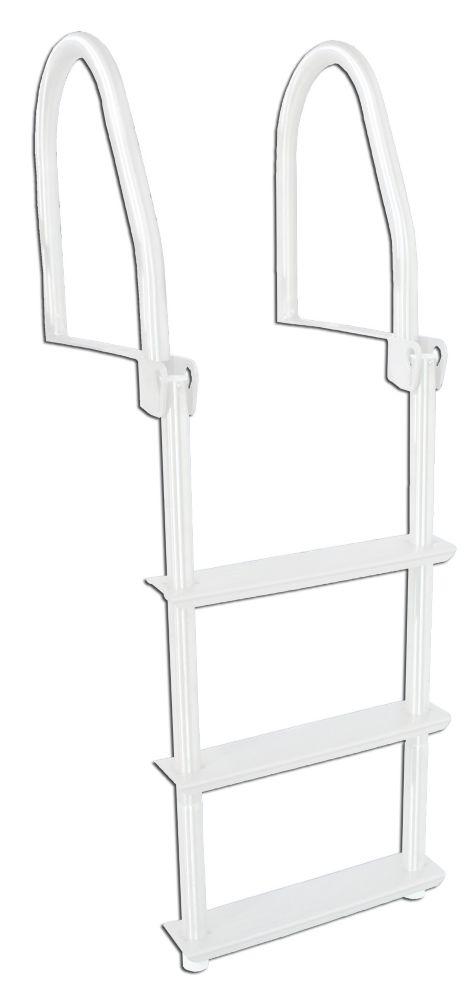 3 Step Flip-Up  Galvalume Dock Ladder, White