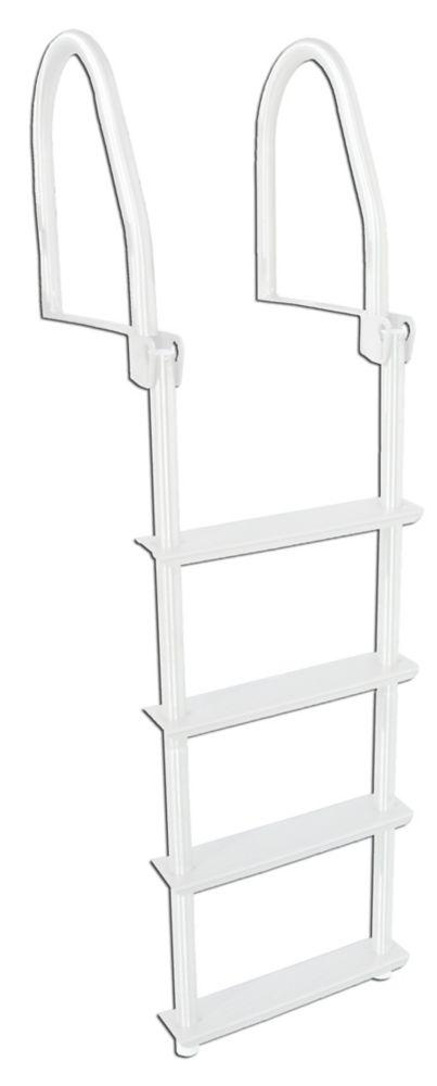 4 Step Flip-Up  Galvalume Dock Ladder, White