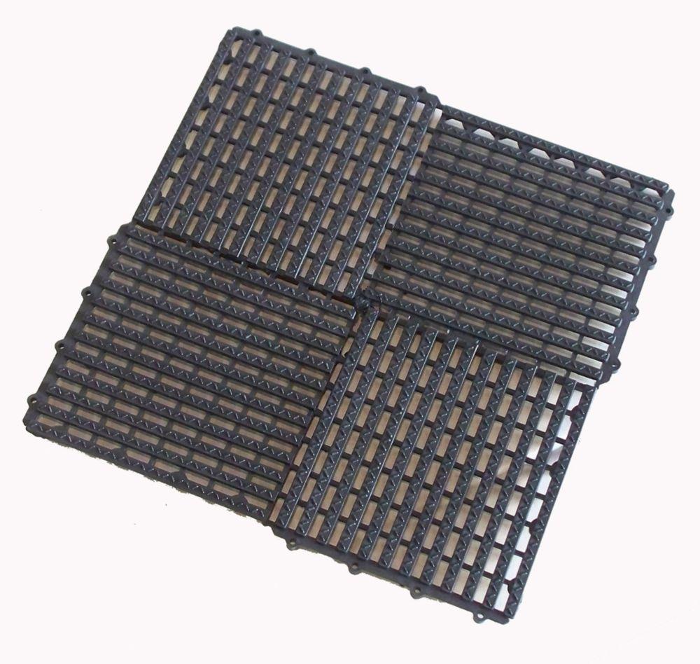 AQUAMAT Tile, 6/Pk, Charcoal Grey