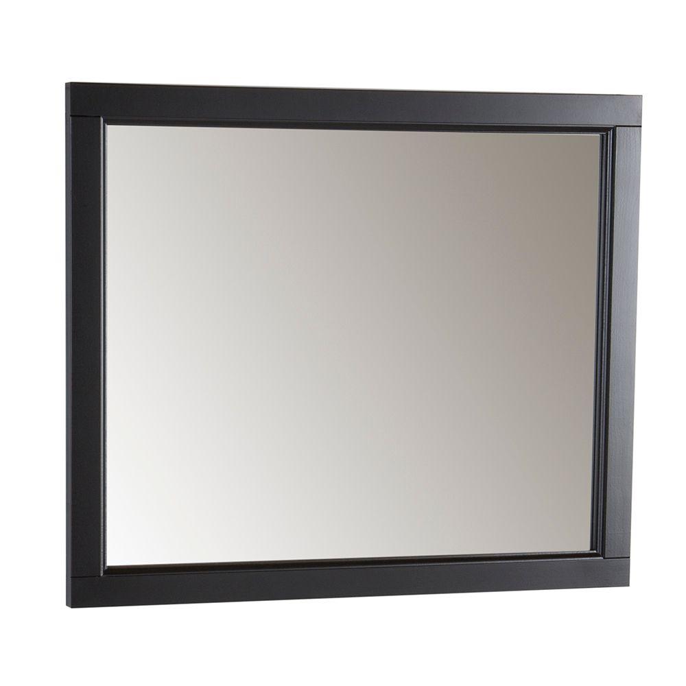 Miroir mural Catalina de 66,04 cm  de large x 78,74 cm   de long (26 po x 31 po) de couleur noire