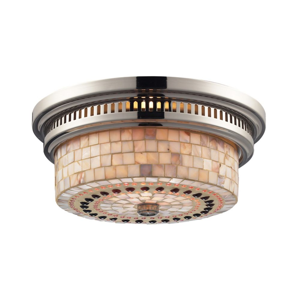 Chadwick 2-Light Flush Mount In Polished Nickel And Cappa Shell