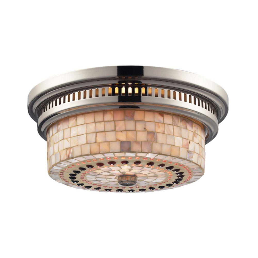 Titan Lighting Chadwick 2-Light Flush Mount In Polished Nickel And Cappa Shell