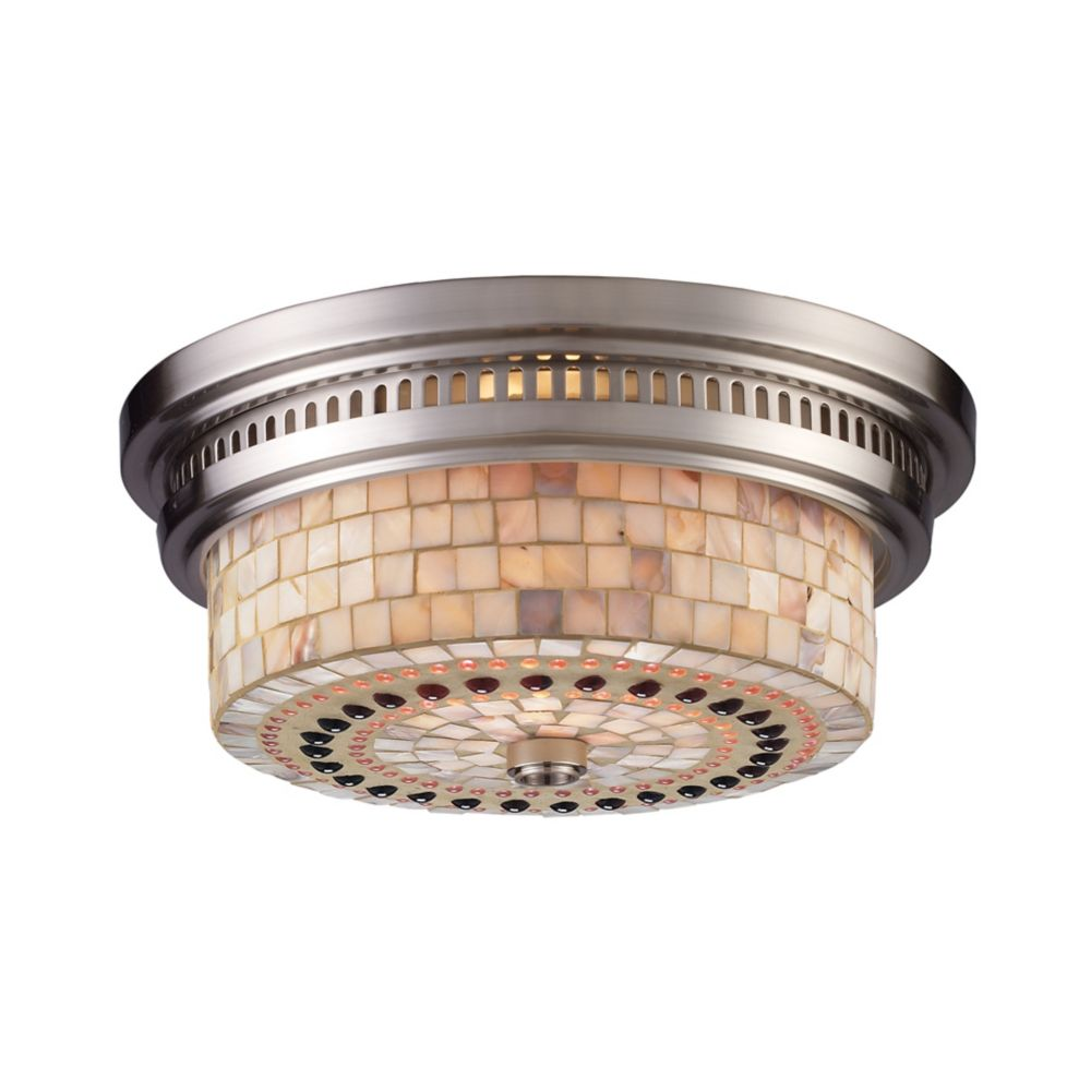 Chadwick 2-Light Flush Mount In Satin Nickel And Cappa Shell