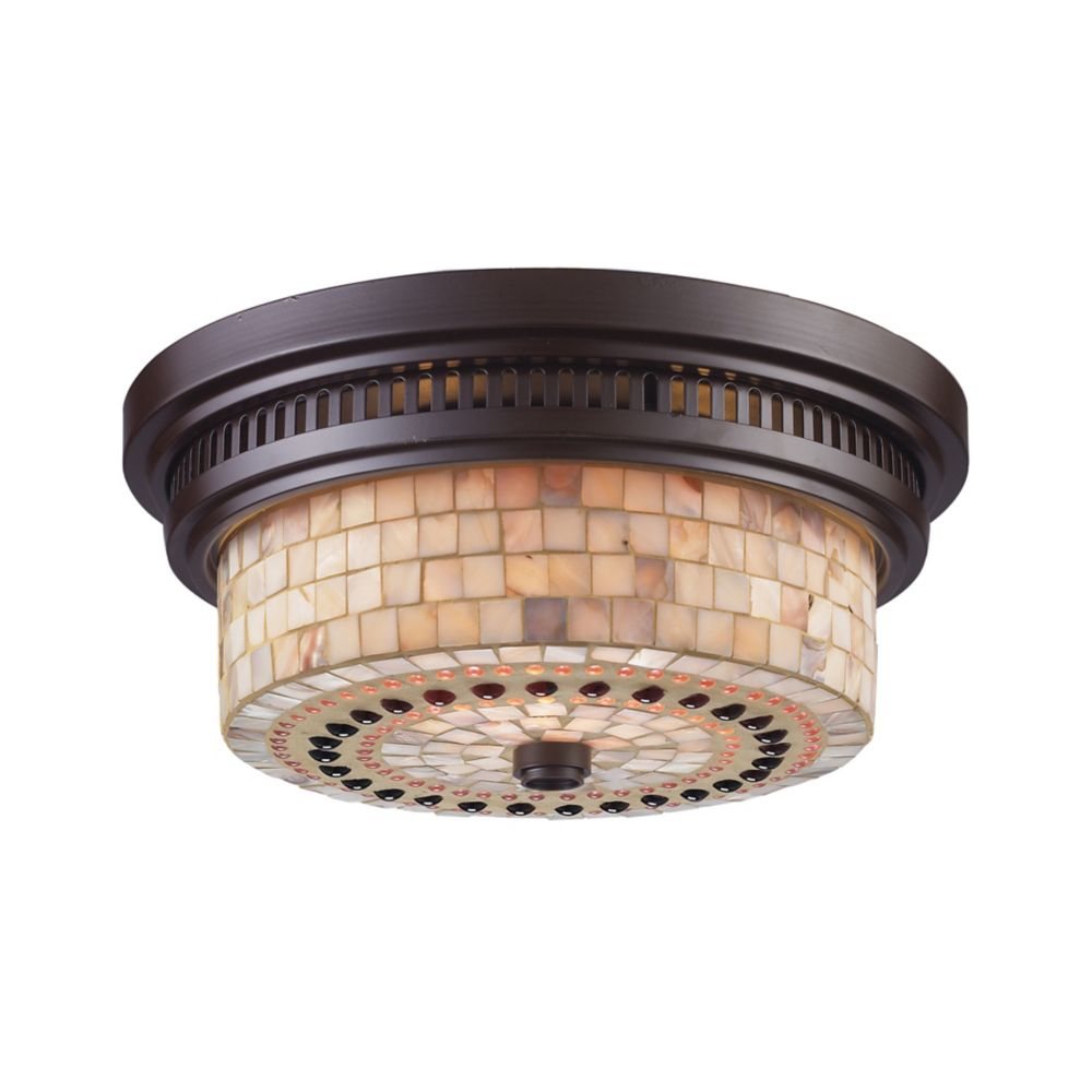 Chadwick 2-Light Flush Mount In Oiled Bronze And Cappa Shell