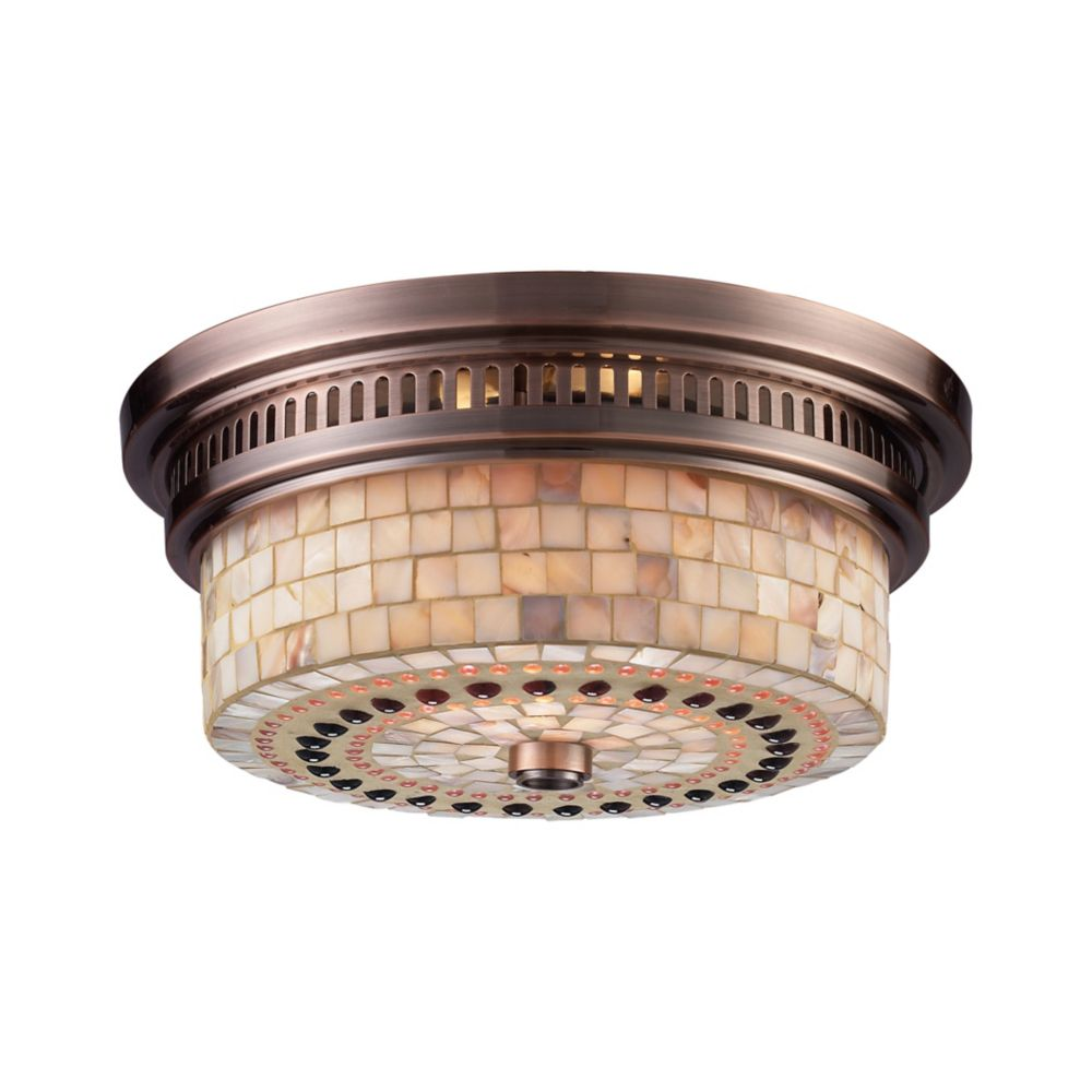 Titan Lighting Chadwick 2-Light Flush Mount In Antique Copper And Cappa Shell