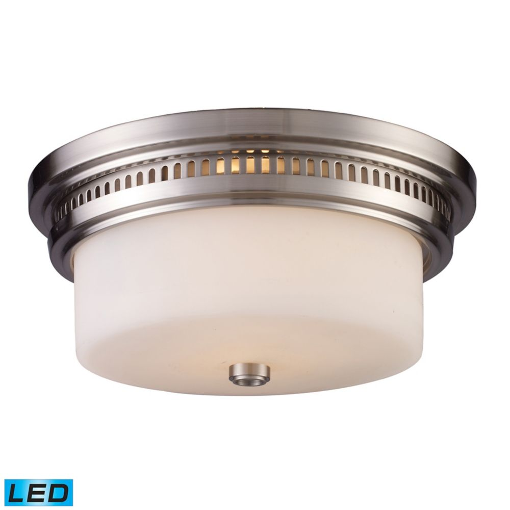 Titan Lighting Chadwick 2-Light Flush Mount In Polished Nickel - LED