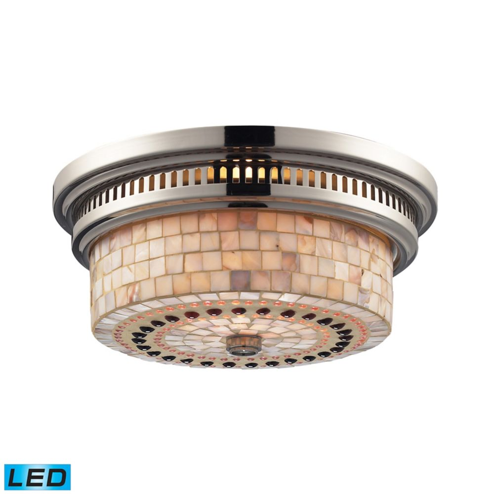 Chadwick 2-Light Flush Mount In Polished Nickel And Cappa Shell - LED