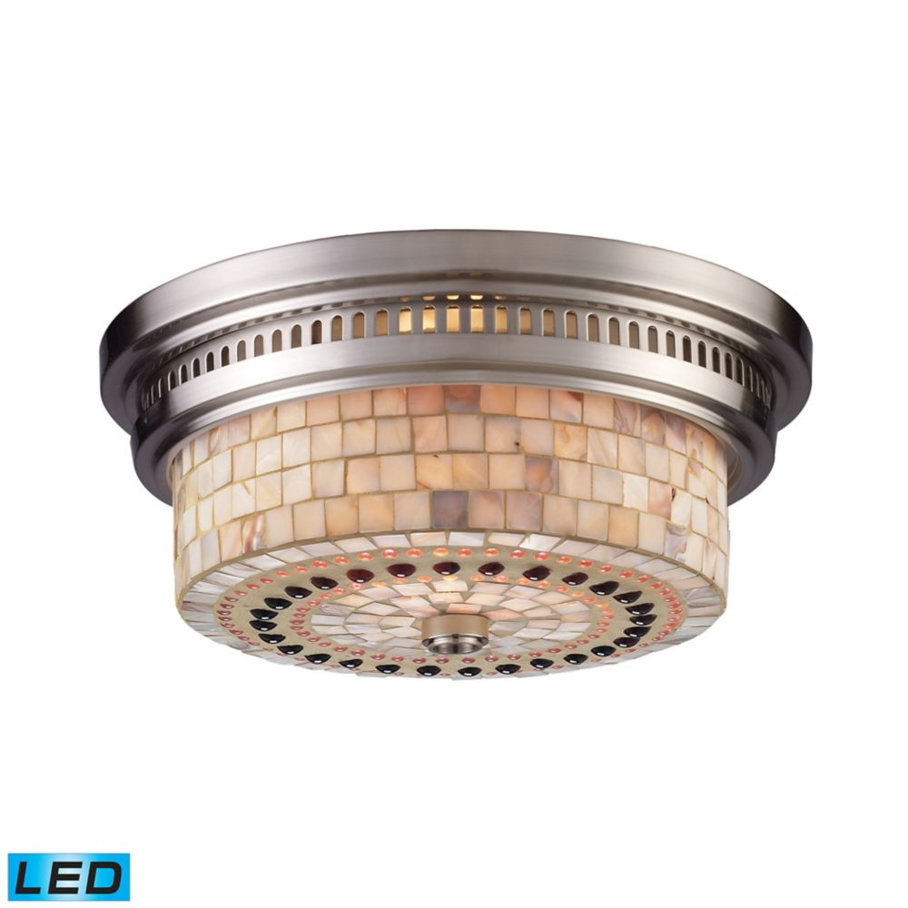Chadwick 2-Light Flush Mount In Satin Nickel And Cappa Shell - LED