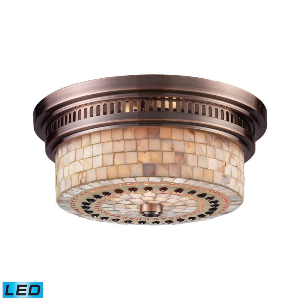 Chadwick 2-Light Flush Mount In Antique Copper And Cappa Shell - LED