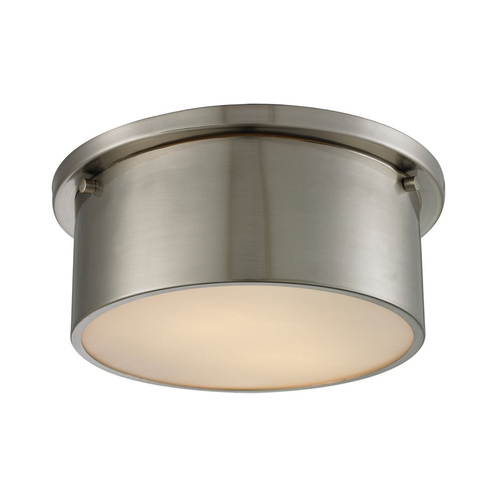 Titan Lighting Simpson 2 Light Flushmount In Brushed Nickel