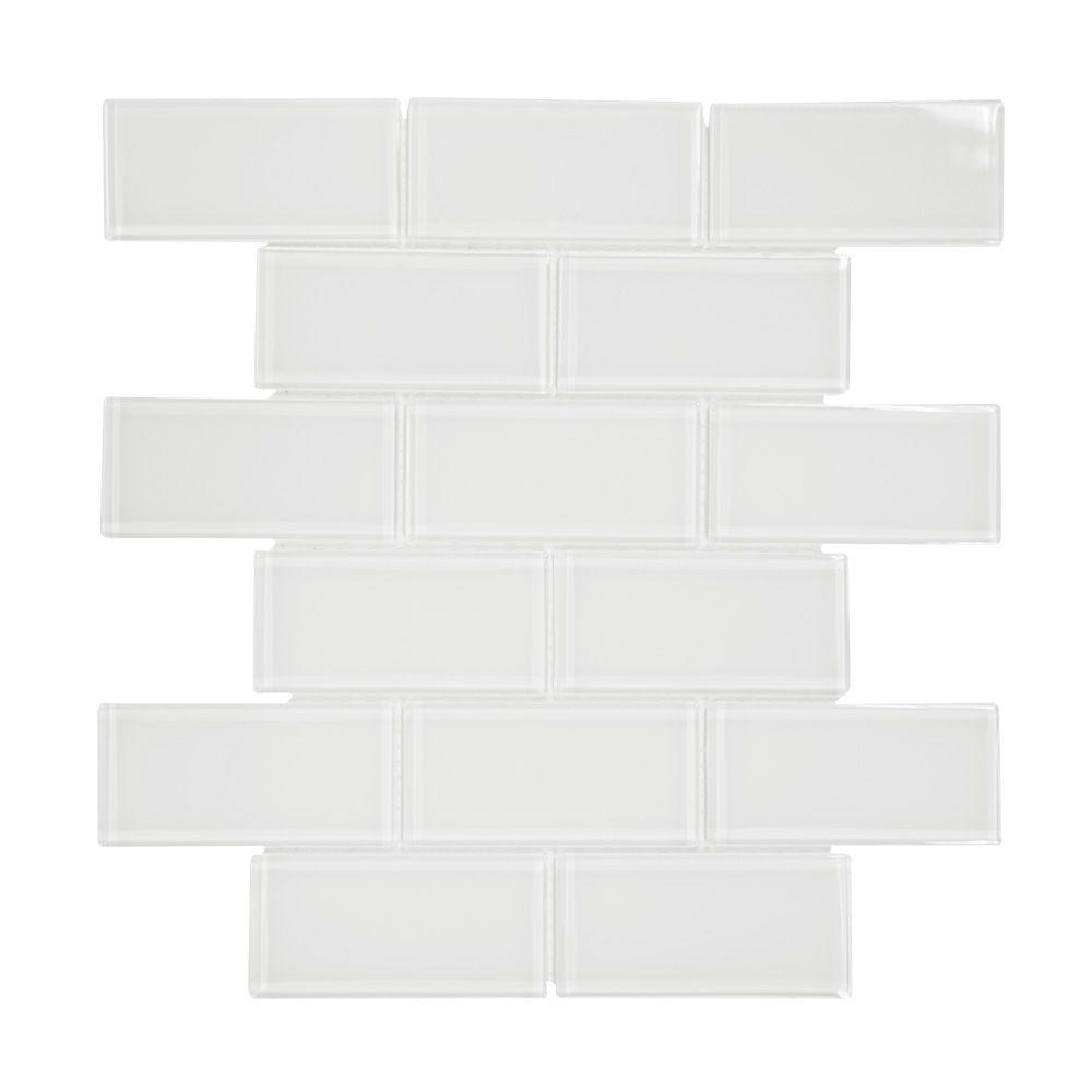 2x4 Super White 7.75Inch X 11.625Inch x 6mm Glass Mosaic