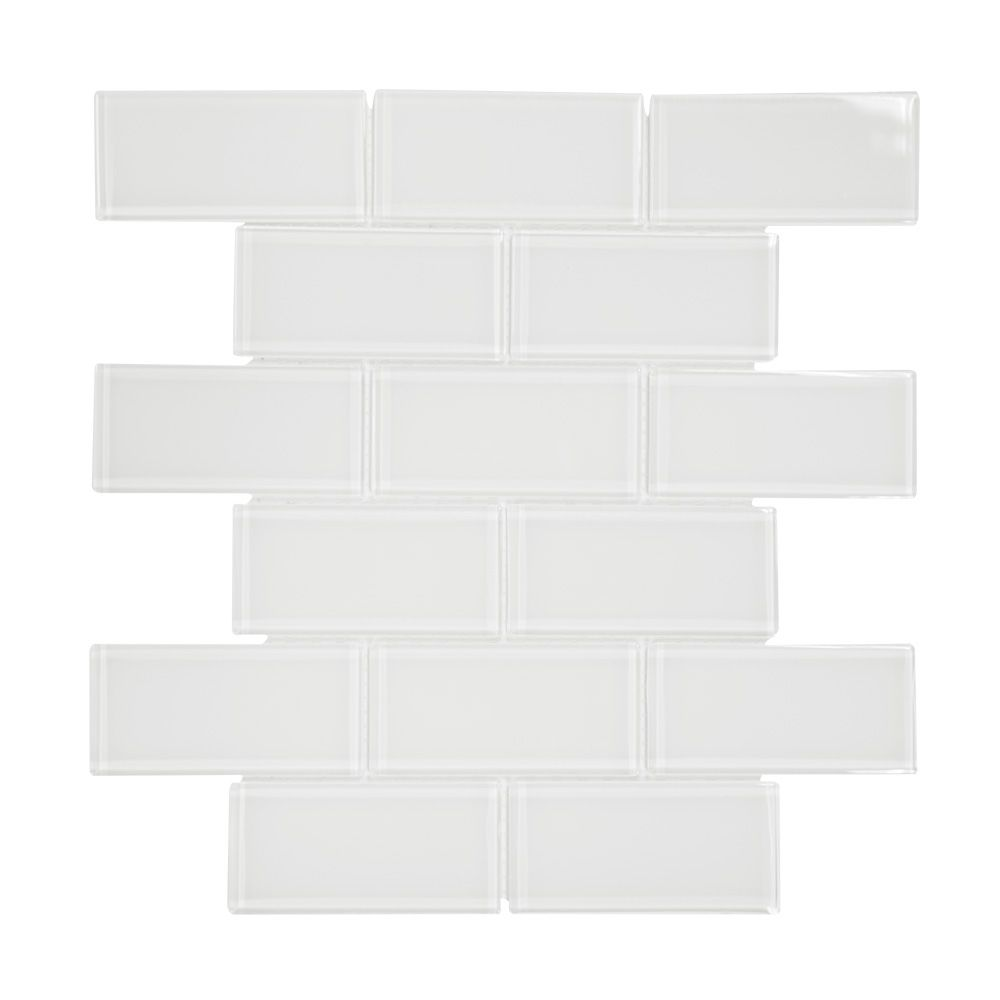 Jeffrey Court 7.75-inch x 11.625-inch x 6mm Glass Mosaic Tile in Super White
