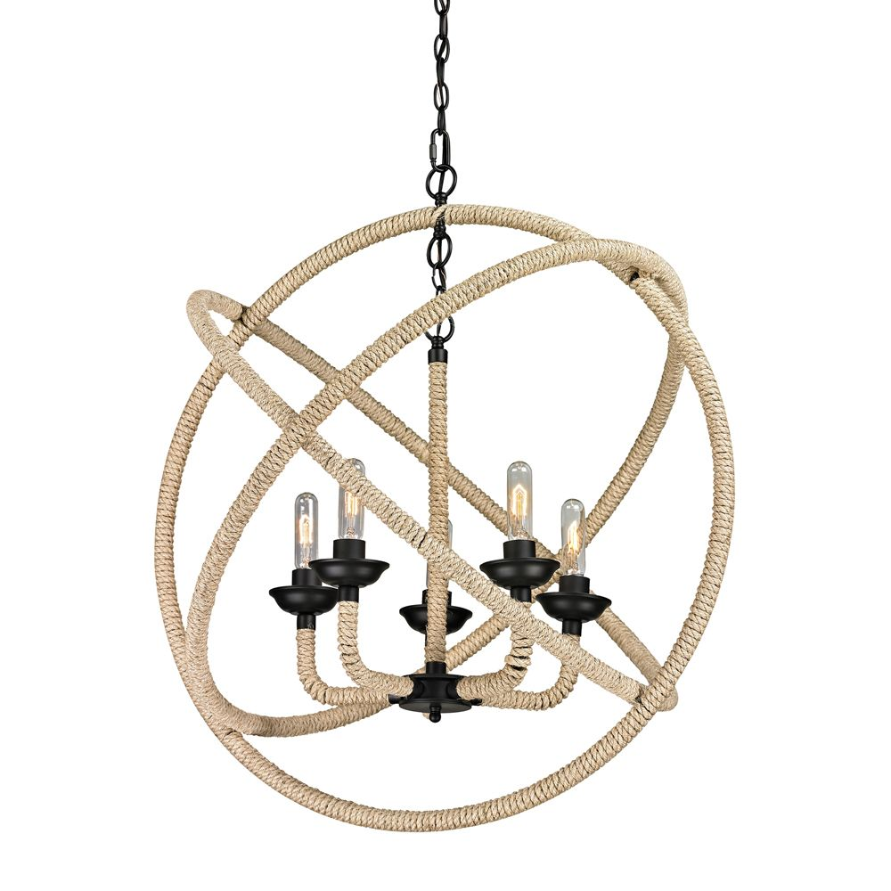 Pearce Collection 5 Light Chandelier In Matte Black