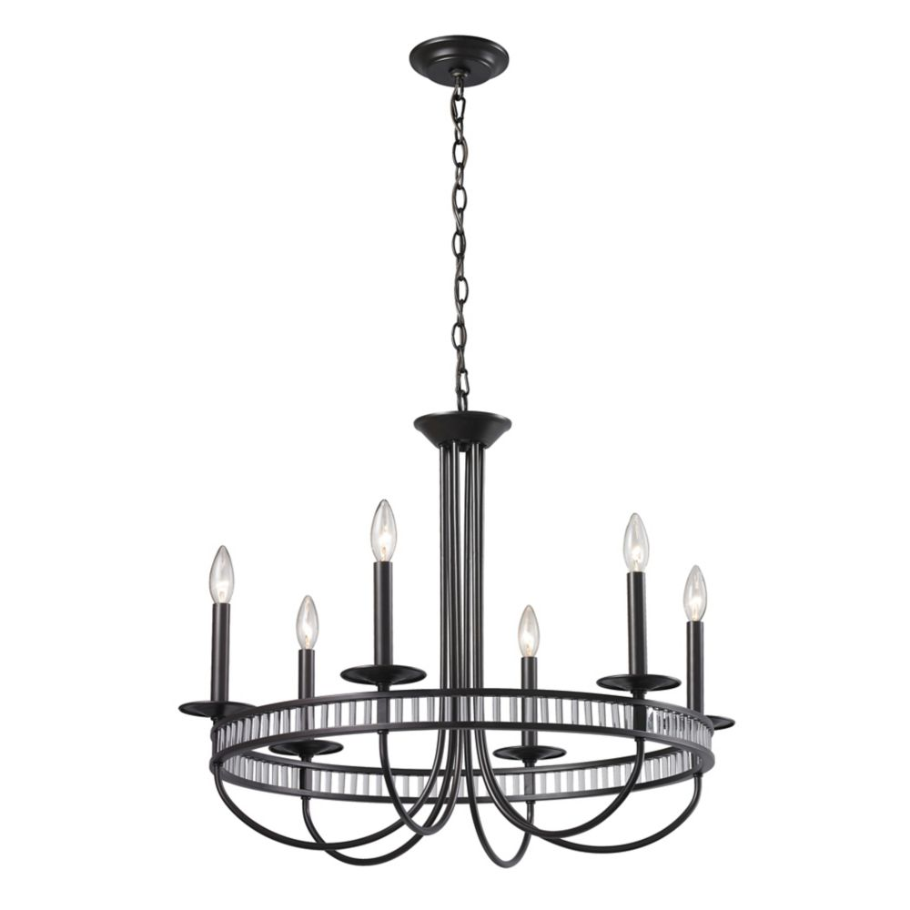 Braxton 6 Light Chandelier In Aged Bronze