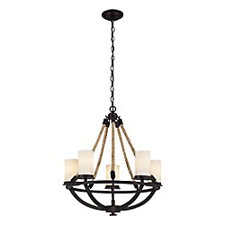 Titan Lighting Natural Rope 5 Light Chandelier In Aged Bronze
