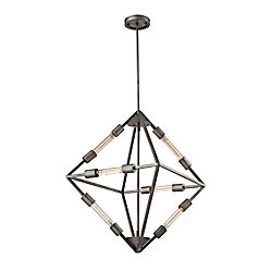 Titan Lighting Laboratory 6 Light Chandelier In Weathered Zinc With Bulb Included