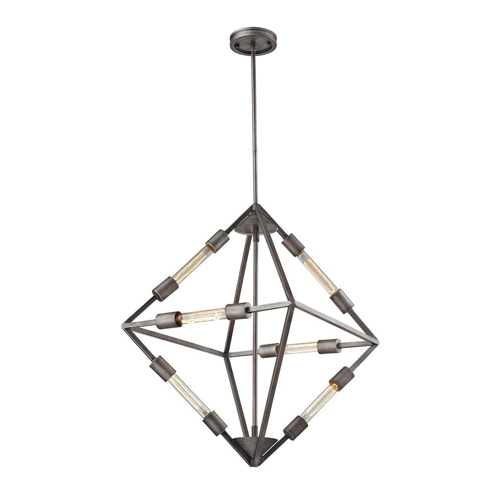 Laboratory 6 Light Chandelier In Weathered Zinc With Bulb Included