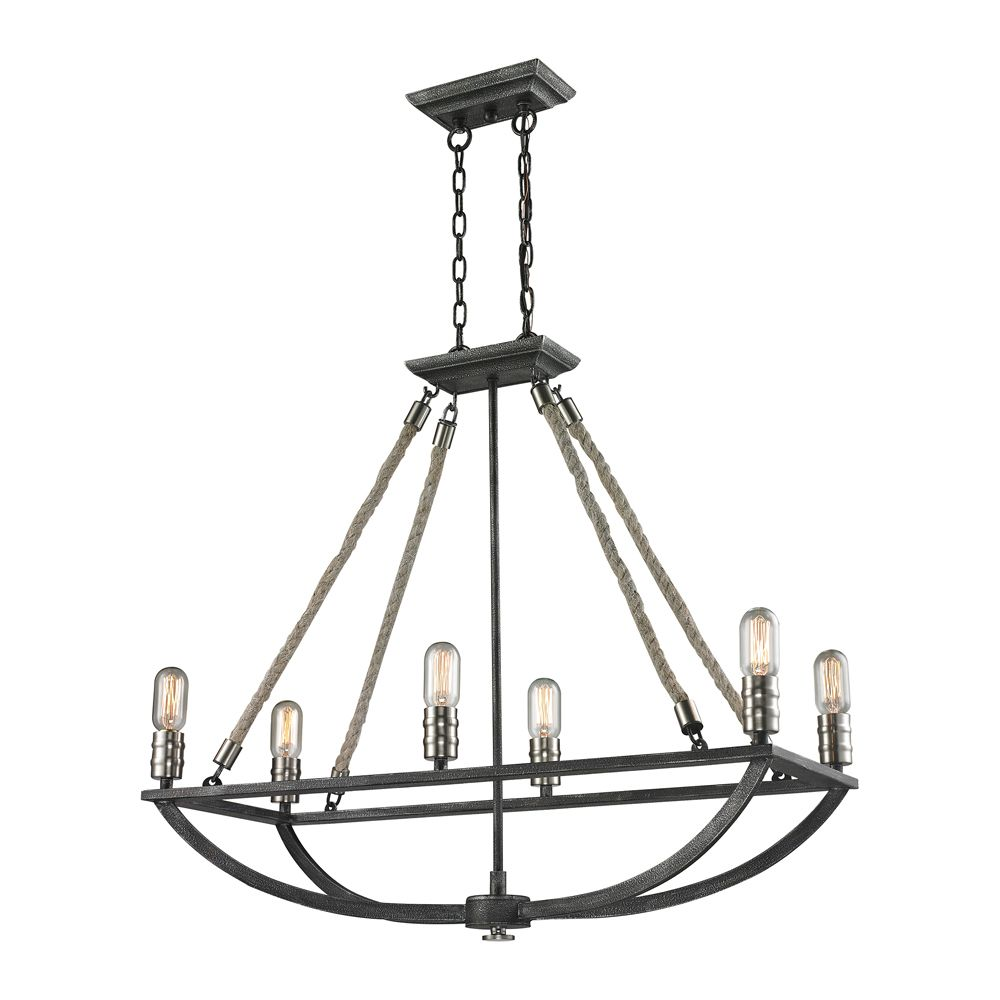 Natural Rope 6 Light Chandelier In Silvered Graphite/Polished Nickel Accents