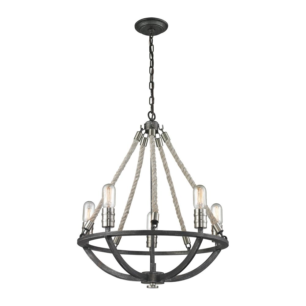 Natural Rope 5 Light Chandelier In Silvered Graphite/Polished Nickel Accents